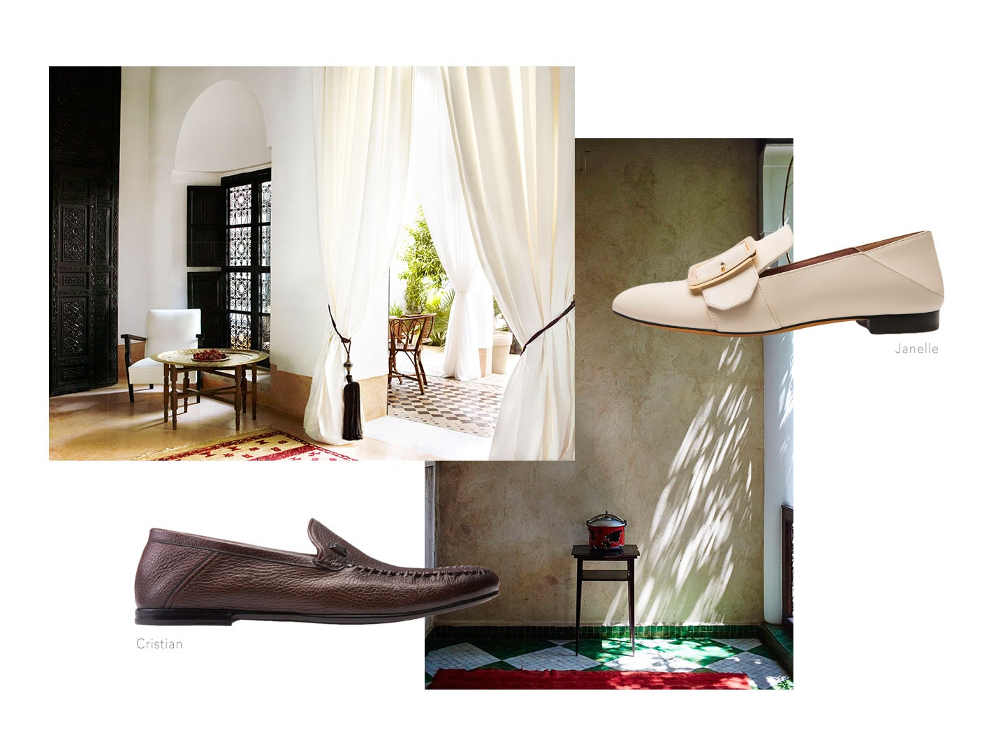 Wear the Janelle and Cristian babouche shoes to L'Hotel and around Marrakesh.